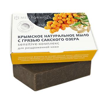 Натуральное мыло на основе лечебной грязи Сакского озера - MED formula «Sensitive - комплекс»