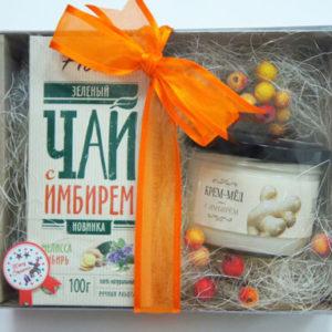 """Подарочный чайный сет: чай и крем-мед """"Имбирь"""""""