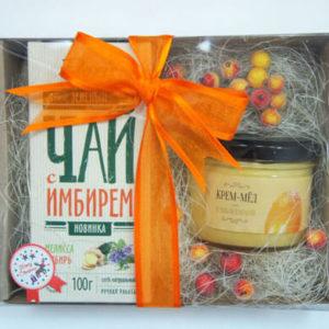 """Подарочный чайный сет: чай и крем-мед """"Имбирь и облепиха"""""""