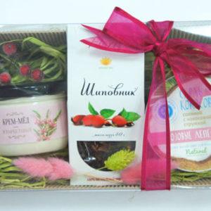 Подарочный набор микс: чай, крем-мед, скраб