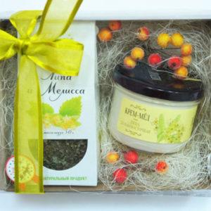 """Подарочный сет: чай и крем-мед """"Липовый цвет"""""""
