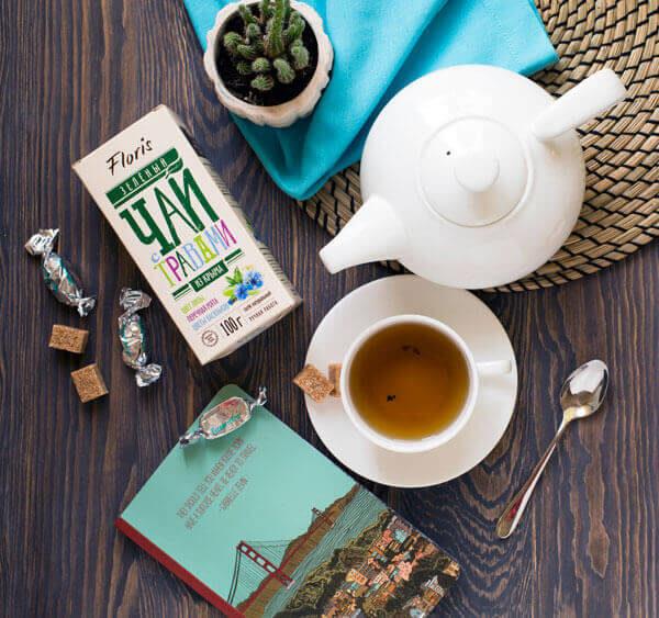 Зеленый чай с мятой, липой и васильком