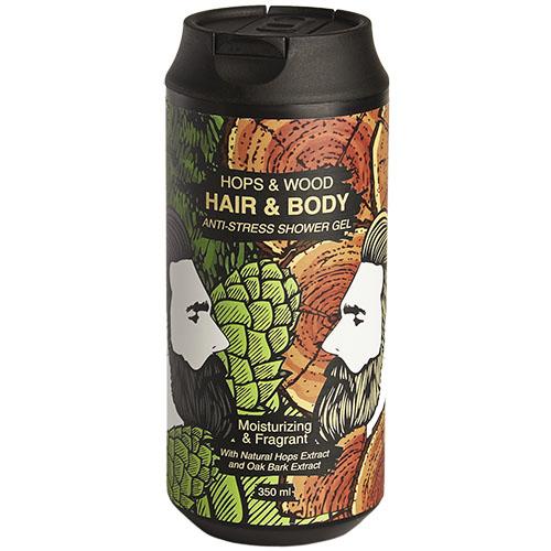 Очищающий гель для тела и волос хмель и дерево