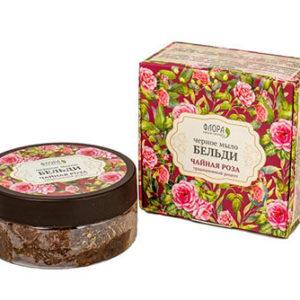 """Чёрное мыло бельди Чайная роза """"Флора Natural Cosmetics"""""""