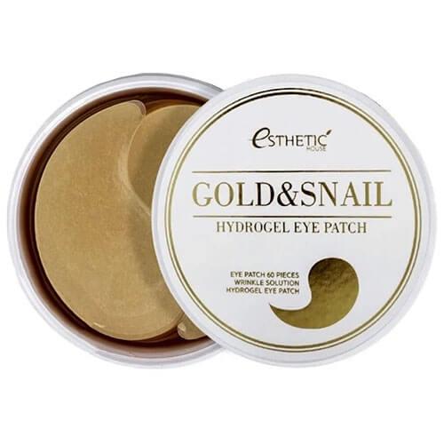 """Гидрогелевые патчи для области вокруг глаз с золотом и муцином улитки Gold Snail Hydro-Gel Eye Patch """"Esthetic House"""""""