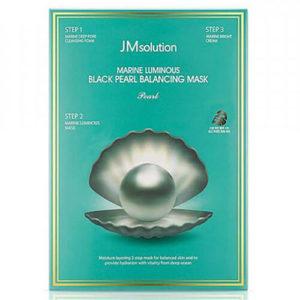 """Тканевая маска для лица с черным жемчугом трёхшаговый Luminous Black Pearl Balancing Mask """"JMsolution"""""""