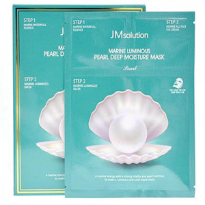 "Тканевая маска для лица с белым жемчугом трёхшаговый Marine Luminous Pearl Deep Moisture Mask ""JMsolution"""