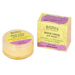 """Натуральный воск для волос Защита от вредного воздействия """"Флора Natural Cosmetics"""""""